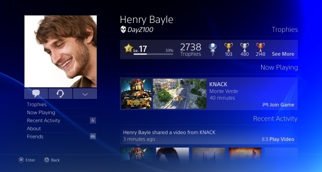 PS4 homescreen