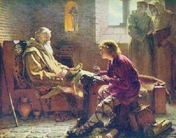 An image depicting Benedict Biscop translating the Gospels to 'Bede' then a very young man.