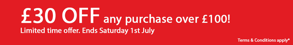 £30 off any purchase over £100. Ends 1st July