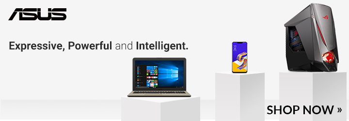 asus branded banner showing products