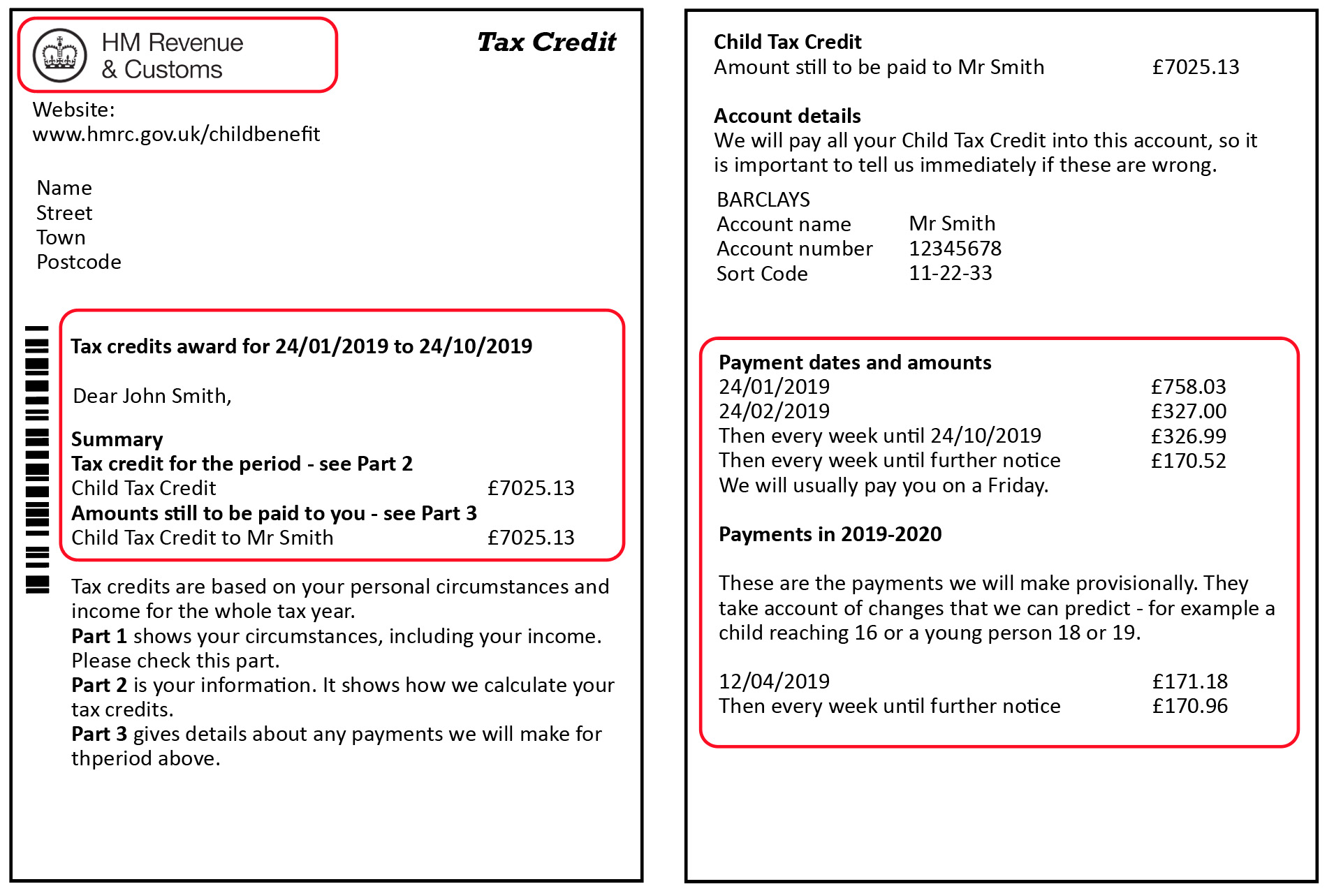 working tax or child tax credit document