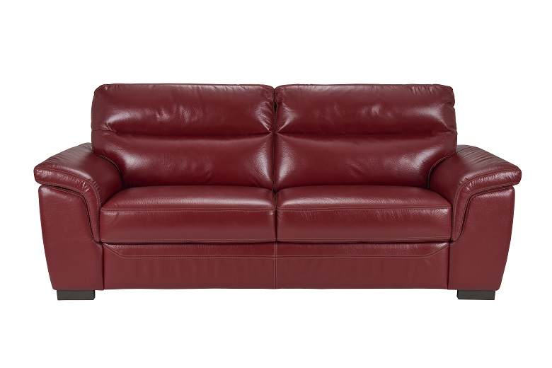Fortana 3 Seater Leather Sofa   Red