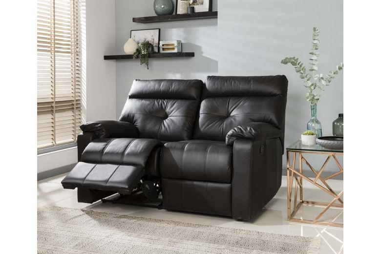Lucca 2 Seater Recliner Sofa Black Brighthouse